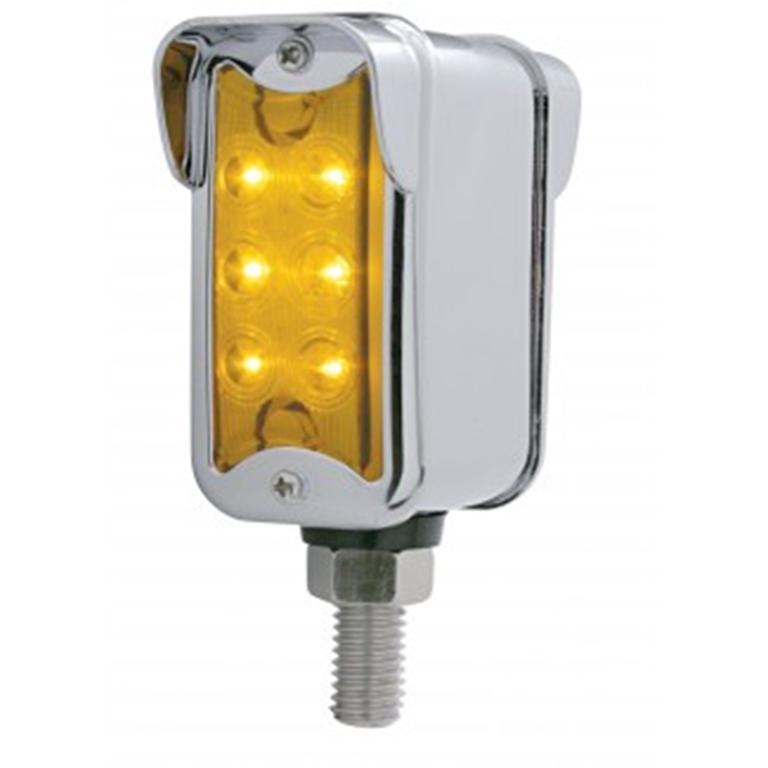 vertical rectangle chrome pedestal light, amber lens